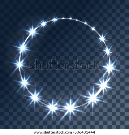 Glowing light effects with transparency, isolated on plaid background vector. Glare, beams, glitter with bokeh circle