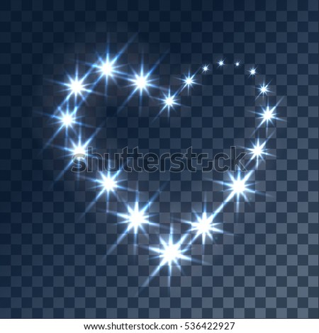 Glowing light effects with transparency, isolated on plaid vector background. Glare, beams, glitter with bokeh