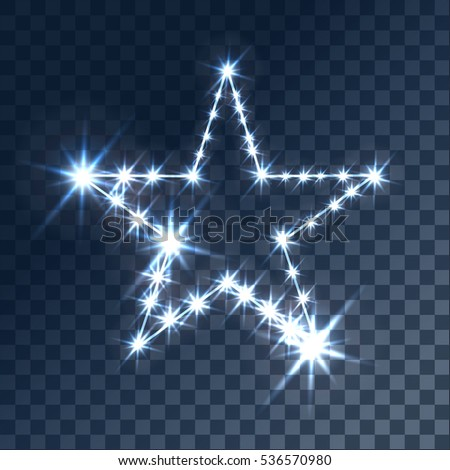 Glowing light effects with transparency, isolated on plaid vector background. Glare, beams, glitter star with bokeh