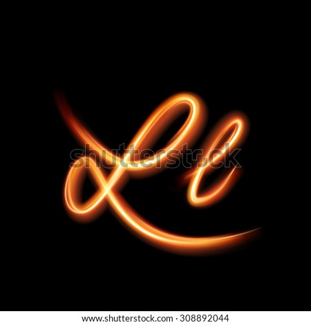 Glowing light letter L. Hand lighting painting - stock vector