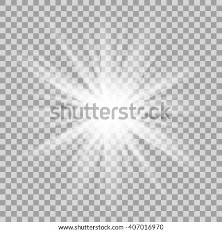 Glowing light on transparent background. Sparkling light texture template. Vector. - stock vector