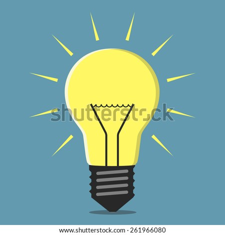 Glowing lightbulb, inspiration, insight concept, EPS 8 vector illustration - stock vector