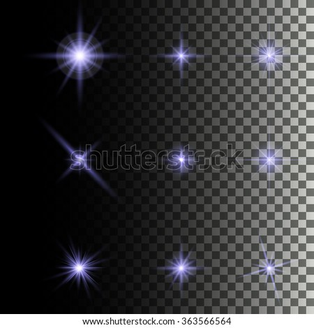 Glowing lights and stars. Isolated on transparent background. Vector illustration - stock vector