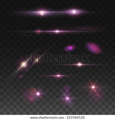 Glowing lights, stars and lights effects.. Isolated on transparent background. Vector illustration, eps 10. - stock vector