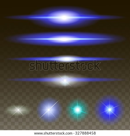 Glowing lights, stars and sparkles. Isolated on black transparent background. Vector illustration,  - stock vector