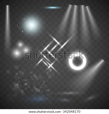 Glowing lights, stars and sparkles. Isolated on transparent background. Scene illumination, transparent effects on a plaid dark background. Bright lighting with spotlights. - stock vector
