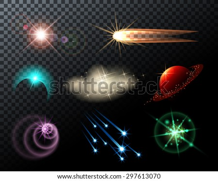 Glowing lights, stars, sparkles and comets on transparent background. - stock vector