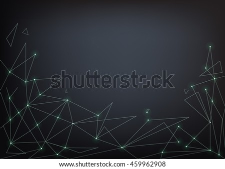 Glowing lines and triangles on dark background