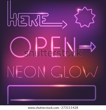Glowing neon elements - stock vector