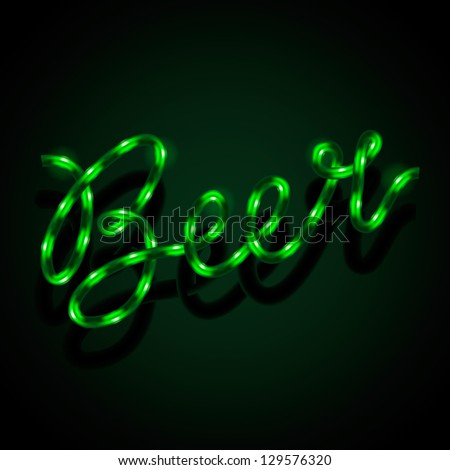 Glowing neon sign - Beer, vector illustration. - stock vector