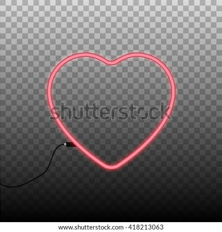 Glowing neon sign in the shape of the heart on transparent background