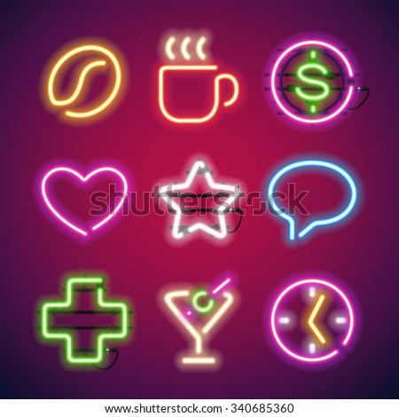 Glowing Neon Signs Set. Used pattern brushes included. There are fastening elements in a symbol palette. - stock vector