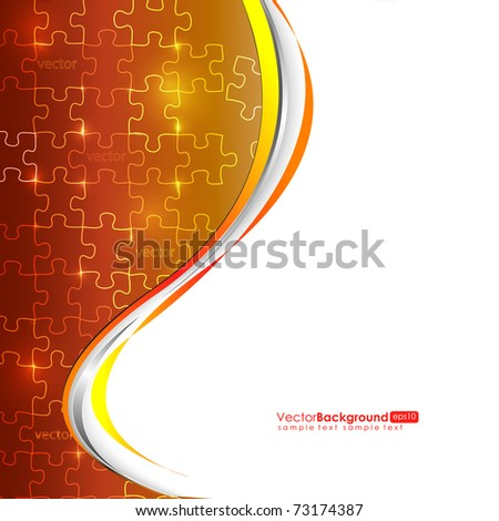 Glowing Orange Puzzle Vector Composition