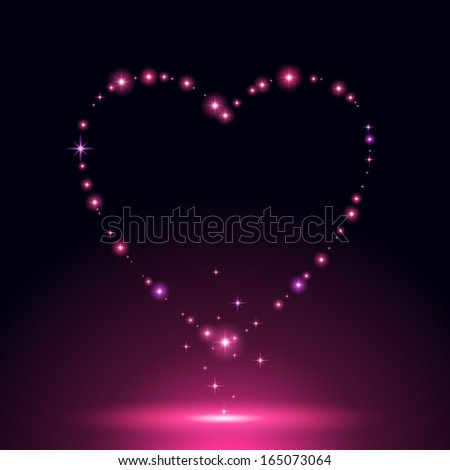 Glowing pink heart of stars and sparkles on dark background. Good for Valentines day design. - stock vector