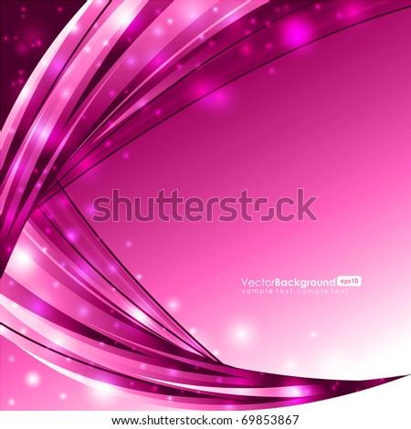 Glowing Pink Lines - Vector Background - stock vector