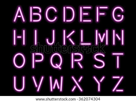 Glowing Pink Neon Alphabet isolated and transparent. Vector eps10. - stock vector