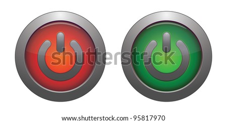 Glowing power green and  red on / off button. - stock vector