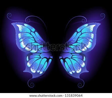 glowing, purple butterfly wings on a black background. - stock vector