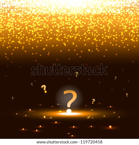 Glowing question mark with sparks - stock vector
