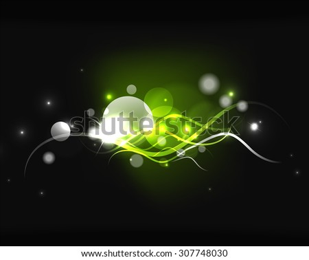 Glowing shiny bubbles and stars in dark space. Vector illustration. Abstract background