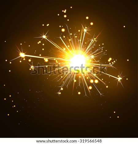Glowing, Sparkling and Blistering Sparkler on Dark Brown Background. New Years Eve Design Template. Abstract Burning Bengal Light Vector Illustration.