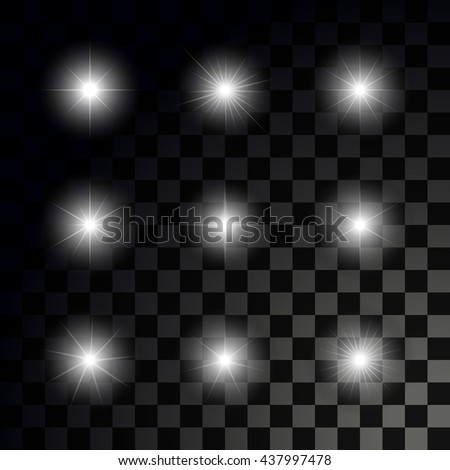 Glowing sparkling stars on transparent dark background. Set of vector glossy stars - stock vector