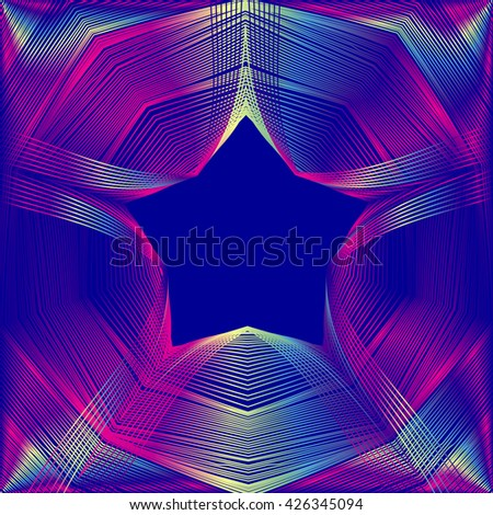 Glowing star with blending colors in dark blue space. Abstract vector background - stock vector