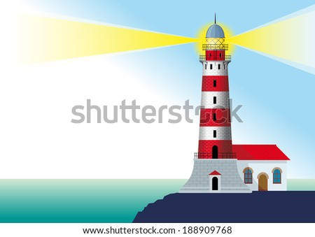 glowing striped lighthouse standing on a rock by the ocean - stock vector
