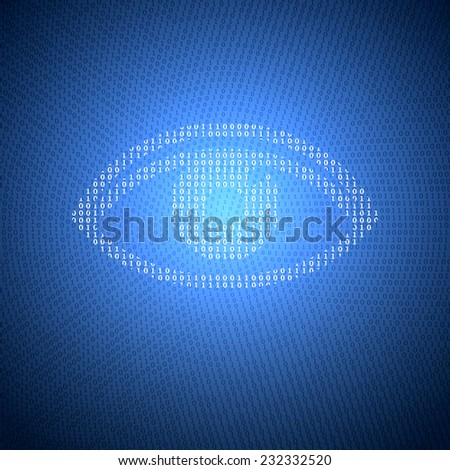 Glowing Symbol of the Eye from a Binary Code on a Dark Blue Background. Concept Illustration on the Theme of Information Security. - stock vector