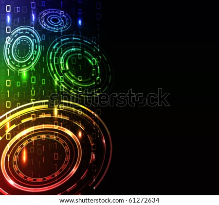 Glowing technology background - stock vector