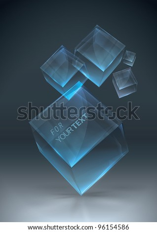 Glowing transparent boxes - stock vector