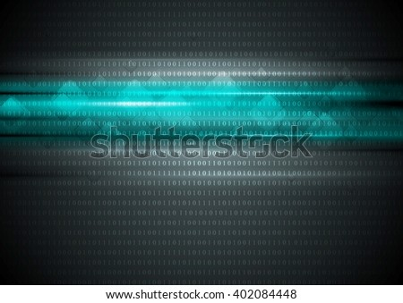 Glowing turquoise stripes with squares and binary code. Vector technology design