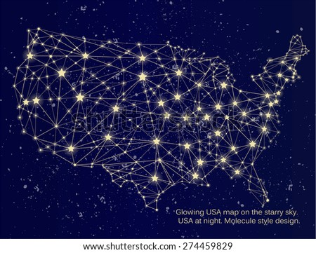 Glowing Usa Map On Starry Sky Stock Vector Shutterstock - Us at night map