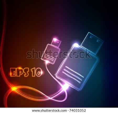 Glowing USB, vector illustration - stock vector