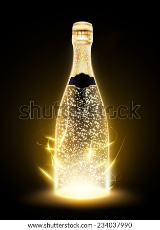 glowing vector bottle illustration - stock vector