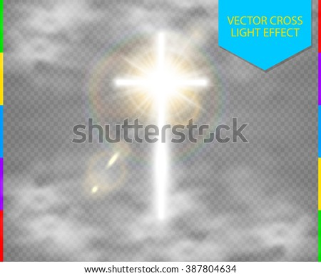 Glowing white Christian cross with sun flare and cloud vector illustration isolated over transparent background. Shining easter symbol of resurrection in the sky - stock vector