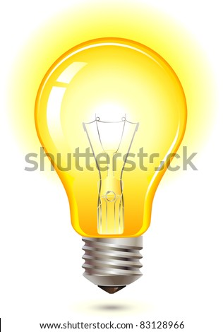 glowing yellow light bulb as inspiration concept