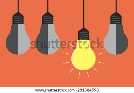 Glowing yellow light bulb hanging among three gray dull ones. EPS 10 vector illustration, no transparency - stock vector