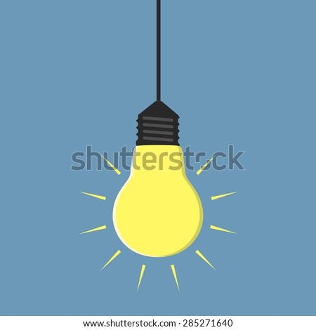 Glowing yellow light bulb hanging, EPS 10 vector illustration, no transparency - stock vector