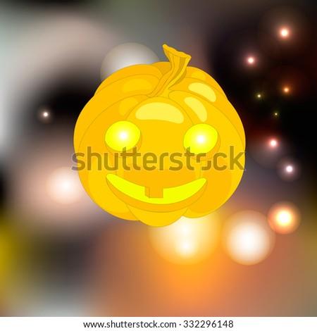 glowing yellow pumpkin Halloween surrounded by fireflies - stock vector