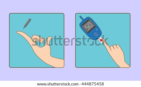 Glucose metere instruction for use vector illustration - stock vector
