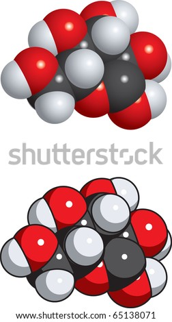 glucose molecule, also known as dextrose. - stock vector