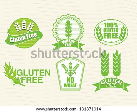 Gluten Free and Wheat Free Labels - stock vector