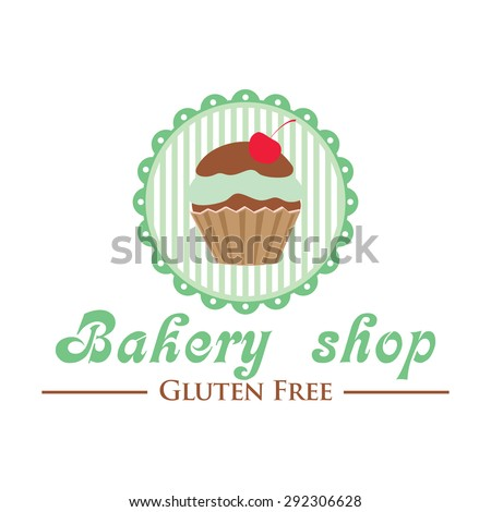 Gluten free bakery shop logo. Cute cupcake on striped background, retro style badge. - stock vector