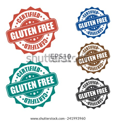 Gluten free certified icon, tag, label, badge, sign, sticker isolated on white, vector format - stock vector