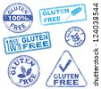 Gluten free food. Rubber stamp vector illustrations - stock photo