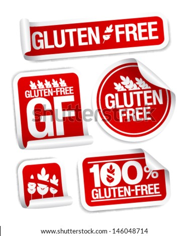 Gluten free food stickers set. - stock vector