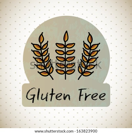gluten free label over dotted background vector illustration  - stock vector