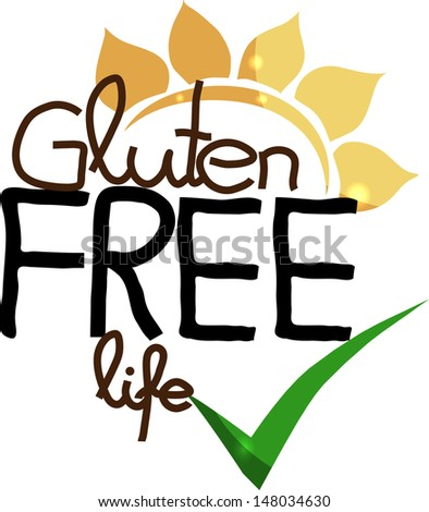 Gluten free life. Hand drawn unique design. Isolated on a white background. - stock vector