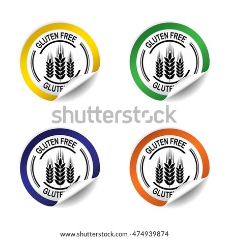 Gluten Free sticker, button, label and sign set - vector